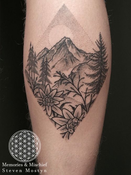 Dotwork Edelweiss and Mountain Landscape - Designed and Tattooed by Mister Mostyn