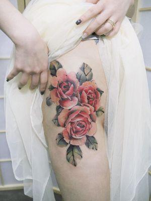 Rose by SION (@tattooistsion)  #flowertattoo #floraltattoo #Korea #KoreanArtist #rosetattoo #rose  #tattooistsion #colortattoo #flower #flowers #oriental