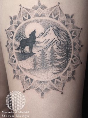 Dotwork Wolf Landscape and Mandala - Unique Design and Tattoo by Mister Mostyn — #dotwork #tattoos #blackwork #tattooartist #wolf #landscape #mandala #mountains #mistermostyn