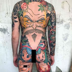 Tattoo by Davis Glows #DavisGlows #animetattoos #anime #manga #newschool #color #DragonballZ #leaves #bodysuit #DBZ #Dragonball #fire #portrait #Bulma #ChiChi #MasterRoshi #smoke