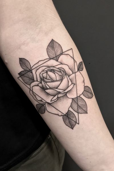 INSTAGRAM: _mfox #art #tattoo #geometry #ink #inked #rose #flower #nature #tattooart #tattooartist