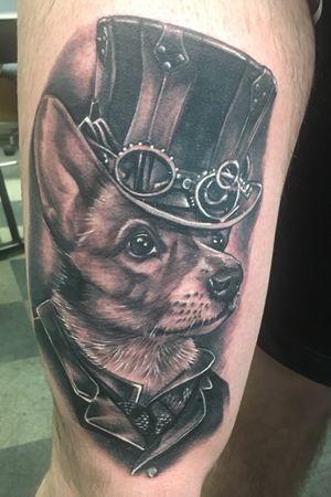 #corgi #dog #realism #steampunk #fusionink #electrumstencilprimer #kingpintattoosupply #blackandgrey #thigh