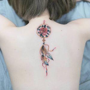 Korean style Dream catcher by SION (@tattooistsion)  #flowertattoo #floraltattoo #Korea #KoreanArtist #camellia #tattooistsion #colortattoo #flower #flowers #oriental #dreamcatcher #dreamcatchertattoo