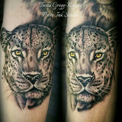 Added this leopard to Sarah's big cat sleeve. . . . #tattoo #tattooingforjesus #worldfamousink #eternalink #intenzeink #realistictattoo #realism #animaltattoo #leopard #tattooartist #bnginksociety #blackandgreytattoo #besttattoos #art #blackandgrey #pureinkstudio