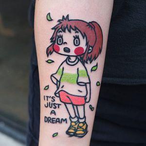 Tattoo by stnrtatt #stnrtatt #animetattoos #anime #manga #newschool #color #spiritedaway #chihiro #text #quote #leaves #nature #child #cute #studioghibli