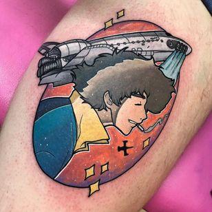 Tattoo by Josh Mcallister #JoshMcallister #animetattoos #anime #manga #newschool #color #cowboybebop #spike #spaceship #SpikeSpiegal #stars #galaxy #space #scifi #cigarette #smoking
