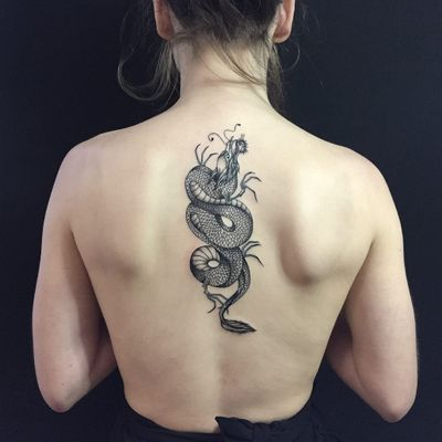 Tattoo by Tessa Claire #TessaClaire #lineworktattoos #linework #illustrative #dragon #mythicalcreature #Japanese #backpiece