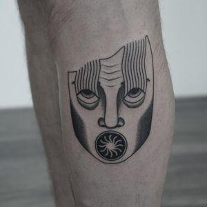 Tattoo by Nicobone #Nicobone #lineworktattoos #linework #illustrative #surreal #strange #face #eyes #sun #weird