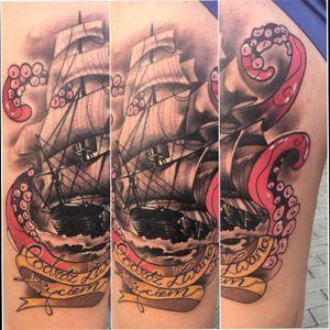 Done at #tattookonwent #tattooart #ship #octopus 2018