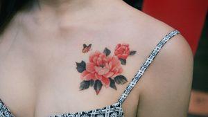 Peony by SION (@tattooistsion) #flowertattoo #floraltattoo #Korea #KoreanArtist #tattooistsion #colortattoo #flower #flowers #oriental #peonytattoo #flowertattoo