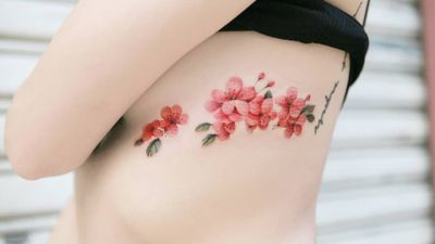 Cherry blossom by SION (@tattooistsion) #flowertattoo #floraltattoo #Korea #KoreanArtist #tattooistsion #colortattoo #flower #flowers #oriental #cherryblossom #cherryblossomtattoo