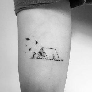 Tattoo by Mimi Mine #MimiMine #campingtattoos #camping #nature #tent #camping #travel #blackwork #linework #minimal #stars #moon #saturn #couple #love
