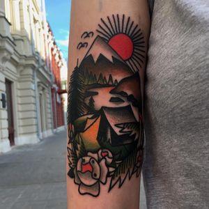 Tattoo by Vasiliy Stadler #VasiliyStadler #campingtattoos #camping #mountains #forest #trees #tent #camping #travel #color #traditional #nature #landscape #sun #leaves #flower #birds