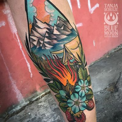 Tattoo by Tanja Schulze #TanjaSchulze #campingtattoos #camping #mountains #forest #trees #tent #camping #travel #color #traditional #nature #landscape #fire #campingfire #flowers #strawberry #fruit