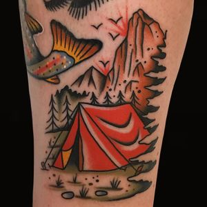 Tattoo by Alex Zampirri #AlexZampirri #campingtattoos #camping #mountains #forest #trees #tent #camping #travel #nature #landscape #outdoors #color #traditional