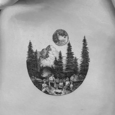Tattoo by Alexandyr Valentine #alexandyrvalentine #campingtattoos #camping #mountains #forest #trees #tent #camping #travel #moon #friends #campfire #fire #blackandgrey #illustrative