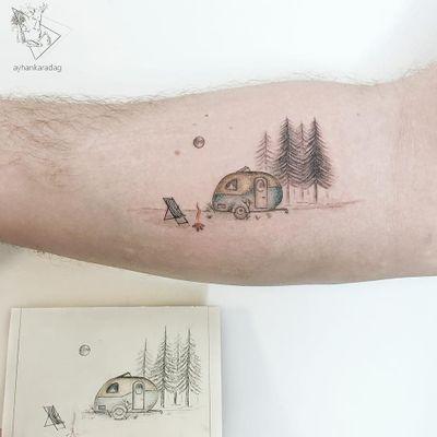 Tattoo by Ayhan Karadag #AyhanKaradag #campingtattoos #camping #mountains #forest #trees #travel #fire #trailer #nature #moon #stars