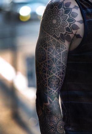 Sacred geometry sleeve in progress.