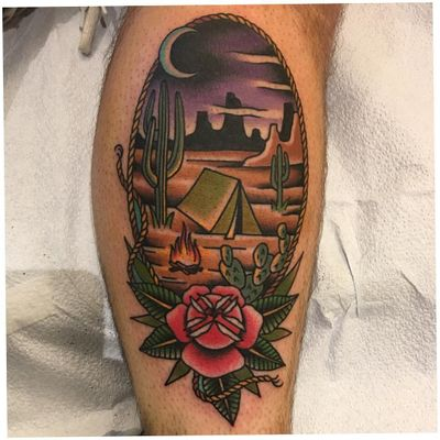 Tattoo by Adam TheKid Wakitsch #AdamTheKid #AdamWakitsch #campingtattoos #camping #mountains #forest #trees #tent #camping #travel #color #traditional #flowers #cactus #fire #landscape #moon