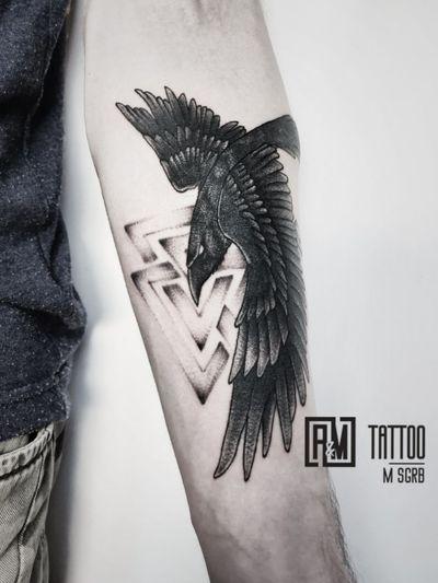 Work by @maxsugrob #raven #valknut #dotworktattoo