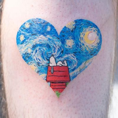 Tattoo by Zihee #Zihee #SnoopyTattoos #Snoopy #Peanuts #CharlieBrown #cartoon #dog #vintage #VincentVanGogh #StarryNight #moon #stars #heart #fineart #painterly #watercolor #painting