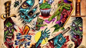 """Some tattoo flash i made up for Hope Galleries """"Walk-In Dead"""" Day. A good time was had by all."""