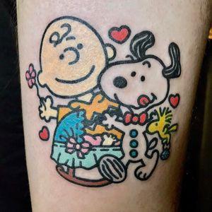 Tattoo by Cool Cool Pikka #CoolCoolPikka #SnoopyTattoos #Snoopy #Peanuts #CharlieBrown #cartoon #dog #vintage #woodstock #bird #baby #hearts #flower #cute