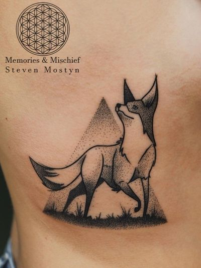 Dotwork Fox designed and tattooed by Mister Mostyn — #dotwork #fox #blackwork #tattooart #graphic #mistermostyn