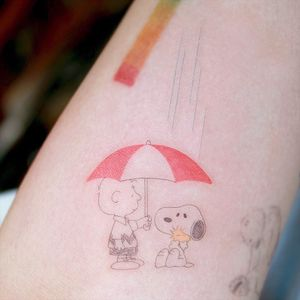 Tattoo by Tattooist Arar #TattooistArar #Arar #SnoopyTattoos #Snoopy #Peanuts #CharlieBrown #cartoon #dog #vintage #rain #umbrella #Woodstock #cute #fineline