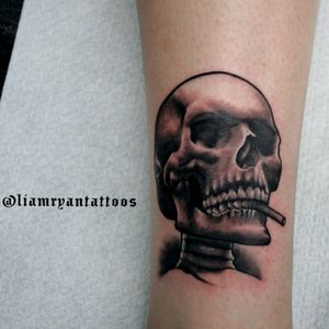 Father and daughter matching tattoos! #familytattoo #skull #smokingskull #joint #artoftheday