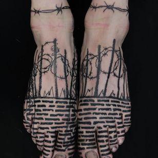 Tattoo by Servadio #Servadio #favoritetattoos #barbedwire #illustrative #blackwork #bricks