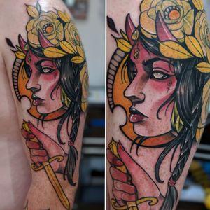 Neotraditional Evil Queen! #neotraditional #neotrad #neotradsub #tattoo #ink #colors #rose #rosetattoo #skull #skulltattoo #trad #Edinburgh #edinburghtattoo  #uk  #uktattoo  #thebestoftheday #girl #girls #girltattoo #face #tattooed #inkspiration #art #customdesign #design #scotland #scotlandtattoo #death #instagram #neotradiotionaltattooers