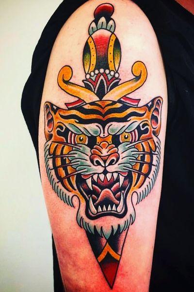 #tigertattoo #traditional #dagger #bigcat #bigcats #tiger #oldschool