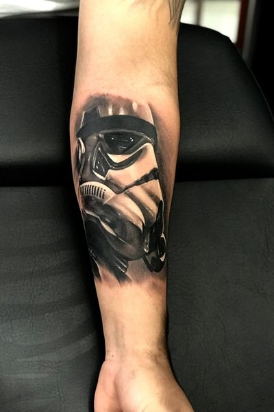 Stormtrooper tattoo I did a couple weeks ago. 4 hours of work. #tattoo #tatuaggio #tatuaje #tattoos #tatuaggi #tatuajes #realistictattoo #realistic #realism #stormtrooper #starwars #starwarstattoo