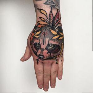 Raccoon on hand #neotraditional #neotrad #neotradsub #tattoo #ink #colors #rose #rosetattoo #skull #skulltattoo #trad #Edinburgh #edinburghtattoo  #uk  #uktattoo  #thebestoftheday #girl #girls #girltattoo #face #tattooed #inkspiration #art #customdesign #design #scotland #scotlandtattoo #death #instagram #neotradiotionaltattooers