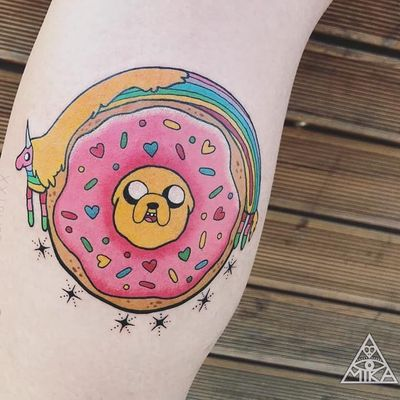 Tattoo by Mika Baby #MikaBaby #donuttattoo #donut #doughnut #foodtattoo #food #sweets #comfortfood #cute #funny #newschool #dessert #sprinkles #AdventureTime #stars #hearts #LadyRainicorn #Jake #dog