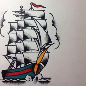 #brightandbold #traditional #traditionaltattoo #sailboat #shiptattoo #ship