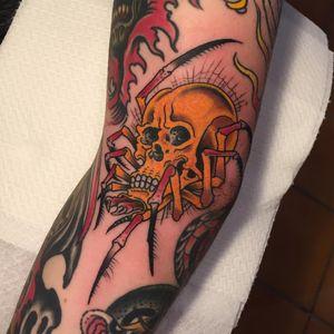 Tattoo by Klem Diglio #KlemDiglio #skulltattoo #skull #death #bones #mashup #spider #spiderweb