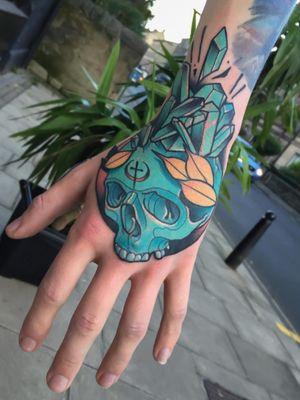 Blue skull hand Tattoo #neotraditional #neotrad #neotradsub #tattoo #ink #colors #rose #rosetattoo #skull #skulltattoo #trad #Edinburgh #edinburghtattoo  #uk  #uktattoo  #thebestoftheday #girl #girls #girltattoo #face #tattooed #inkspiration #art #customdesign #design #scotland #scotlandtattoo #death #instagram #neotradiotionaltattooers
