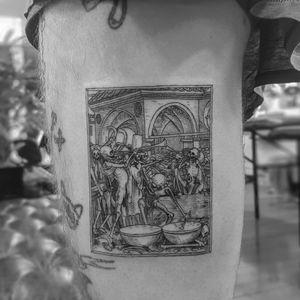 Tattoo by Alexandyr Valentine #alexandyrvalentine #skulltattoo #skull #death #bones #illustrative #etching #engraving #trumpets #medieval #ancient #strange #surreal