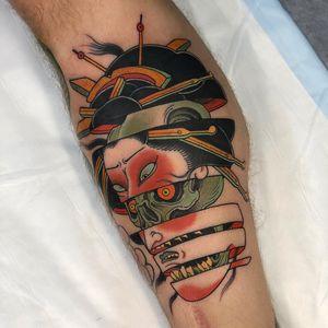 Tattoo by Stu Pagdin #StuPagdin #skulltattoo #skull #death #bones #geisha #mashup #Japanese