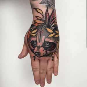 Raccoon hand tattoo #neotraditional #neotrad #neotradsub #tattoo #ink #colors #rose #rosetattoo #skull #skulltattoo #trad #Edinburgh #edinburghtattoo  #uk  #uktattoo  #thebestoftheday #girl #girls #girltattoo #face #tattooed #inkspiration #art #customdesign #design #scotland #scotlandtattoo #death #instagram #neotradiotionaltattooers