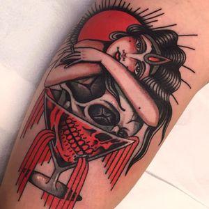 Tattoo by Pablo Lillo #PabloLillo #skulltattoo #skull #death #bones #martini #lady #ladyhead #cigarette #sun #alcohol #drink #portrait