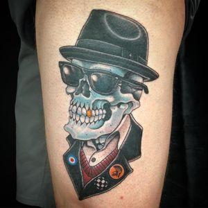 Tattoo by Jason Hanna #JasonHanna #skulltattoo #skull #death #bones #ska #mod #punk #RudeBoy #music #sunglasses #hat #style