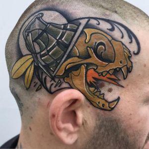 Granade Vs aggressive skull #neotraditional #neotrad #neotradsub #tattoo #ink #colors #rose #rosetattoo #skull #skulltattoo #trad #Edinburgh #edinburghtattoo  #uk  #uktattoo  #thebestoftheday #girl #girls #girltattoo #face #tattooed #inkspiration #art #customdesign #design #scotland #scotlandtattoo #death #instagram #neotradiotionaltattooers