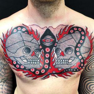 Tattoo by Teide #Teide #skulltattoo #skull #death #bones #blackink #dotwork #traditional #abstract #serpent #snake #thirdeye #pattern #fire