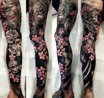 Japanese leg sleeve #sleeve #japanese #japanesetattoo #japaneselegsleeve #oni #Geisha #daruma #foodog
