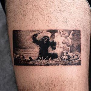 Tattoo by Oozy #Oozy #movietattoos #movie #film #illustrative #monkey #skull #bones #death #evolution #SpaceOdyssey2001 #filmstill