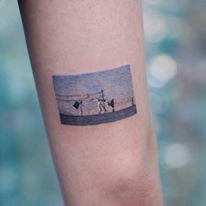 Tattoo by Saegeem #Saegeem #Saegeemtattoo #movietattoos #movie #film #realistic #realism #small #filmstill #watercolor #sky #Picnic