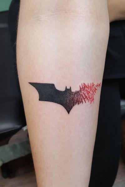 Got this done recently and I absolutely LOVE it! #batman #batmantattoo #batmanjoker #Joker #jokertattoo #DCTattoos #dccomics